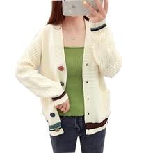Spring Autumn Women Cardigan Sweater V-neck Pocket Sweater Women Knitted Jacket Loose Long Sleeve Tops цены онлайн