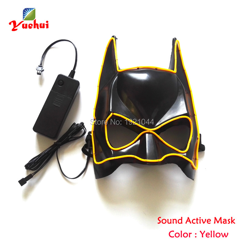 New arrival EL Wire Glowing Mask with DC-3V Sound activated Driver Neon Cold Light Party Mask EL mask Gift Color Yellow