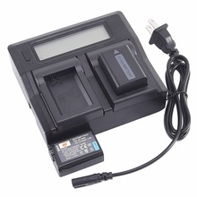 DSTE US Plug LCD Dual Charger with 2PCS 1950 mAh NP FW50 np fw50 Battery for
