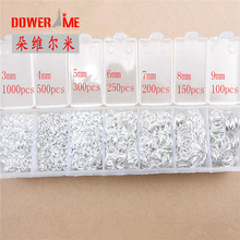 hot deal buy dower me wholesale lot 2400pcs 3-4-5-6-7-8-9mm 925 sterling silver components 925 silver jewelry findings jump rings a box