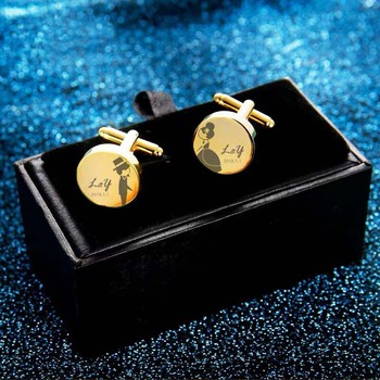 2pcs wedding favor birthday gift groom Father's Day Men's cufflinks Custom logo cuff links Laser engrave name gold Sleeve nail 1