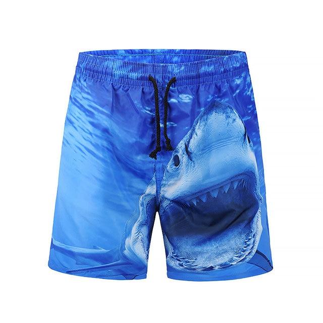 3f09d37e5ce1c Fashion Board Shorts Men's Quick Dry 3D Printing Beach Shorts Homme Sea  Animal Shark Summer Casual Beach Wear bermuda hombre