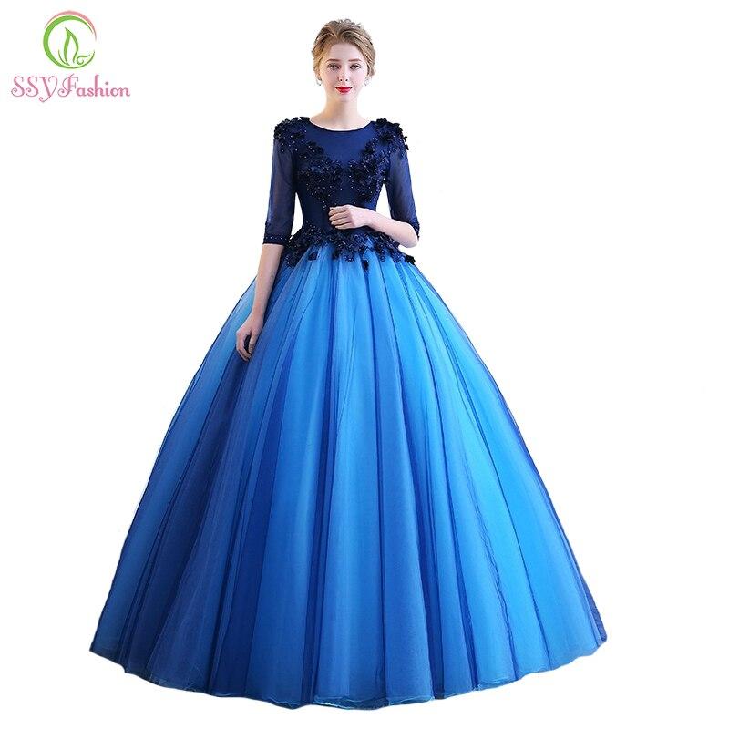 SSYFashion New Prom Dress Beautiful Photography Colorful Blue Lace ...