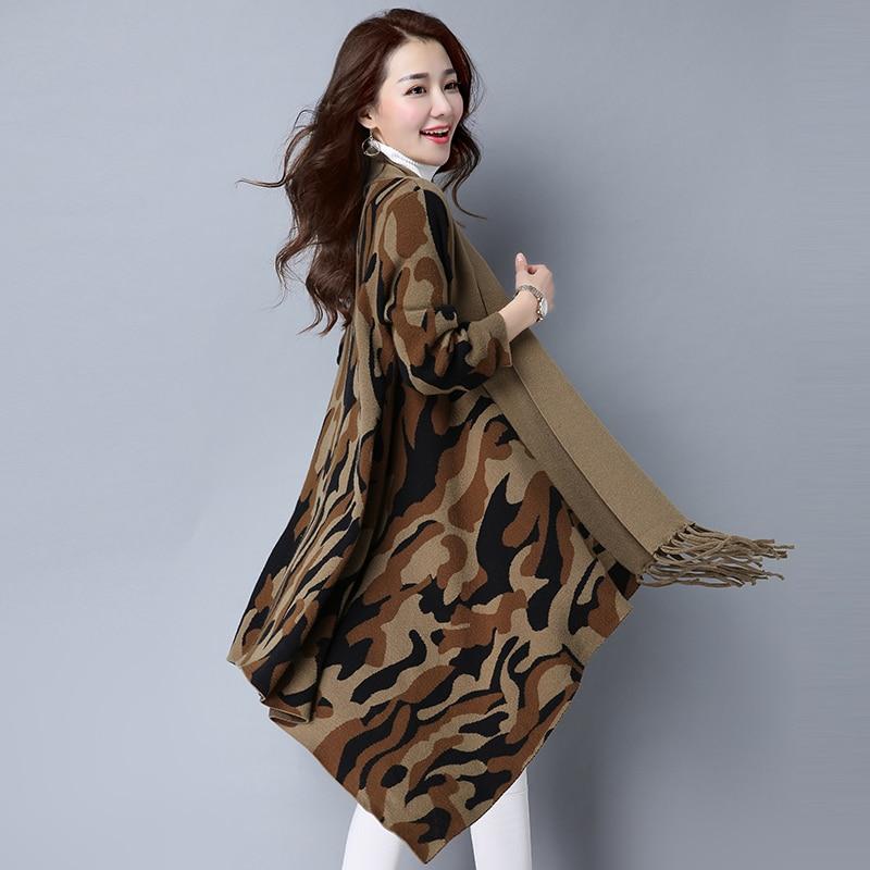 New Design Women's Fashion Camouflage Shawl Cardigan Batwing Sleeve Sweater Shawl Ladies Fringed Plus Size Shawl Coat