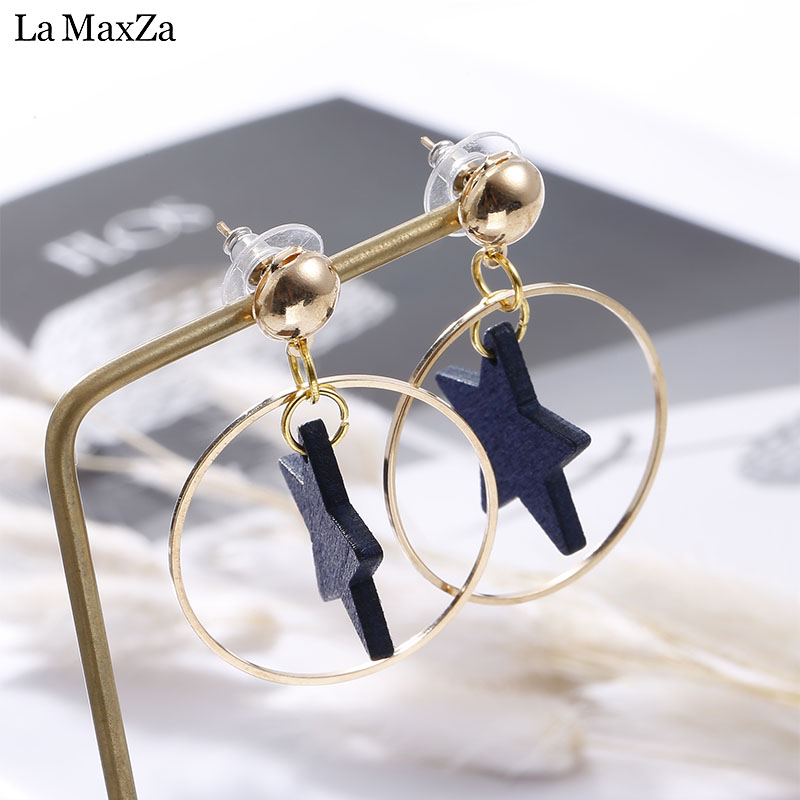 Big Star Earrings For Women Hyperbole Statement Exaggerated Circles Gold-Color Long Stud Earrings Girls Korean Fashion Jewelry