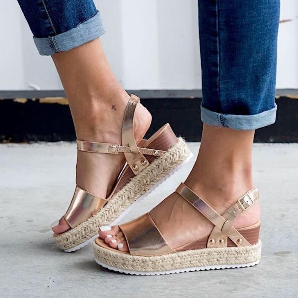 Sandals Women Buckle-Strap Wedges Platform Peep-Toe Para Mujer Retro New-Fashion