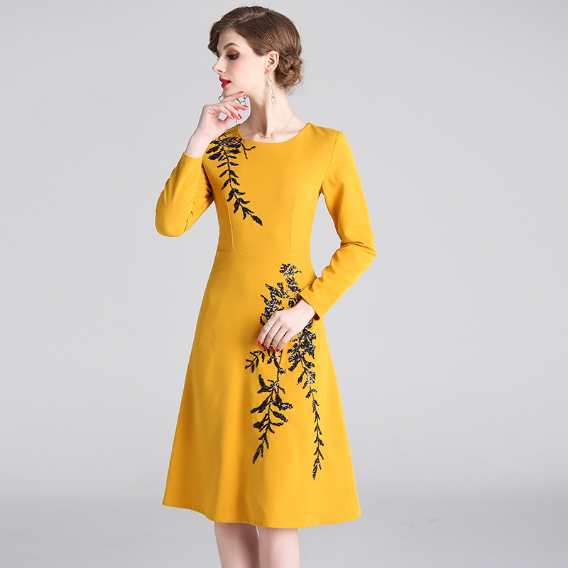 2019 Summer Women Dress Casual A Line Knitting Long Sleeve Dreses Sexy Slim Elegant Party Yellow Dresses Ladies 2XL High Quality in Dresses from Women 39 s Clothing
