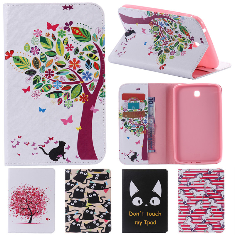 Cute Cartoon Card Slot Stand Flip PU Leather Coque Case sFor Samsung Galaxy Tab 3 7.0