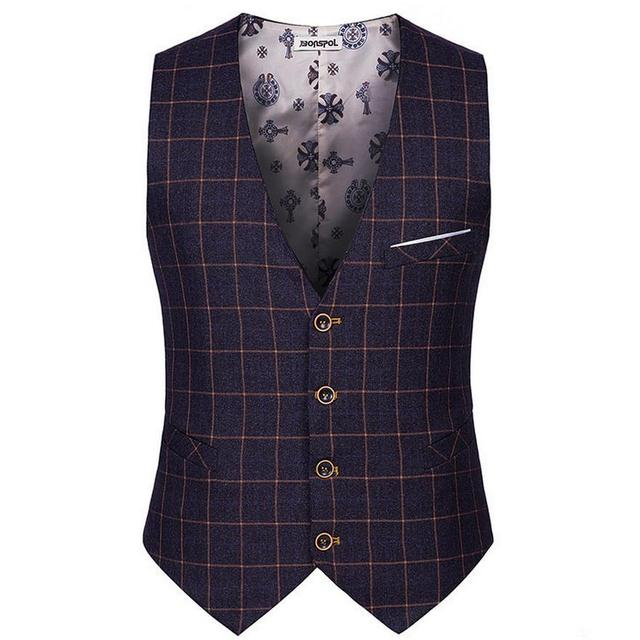 Botão do vintage Tweed Colete Coletes Elegantes Para Os Homens 4 Primavera Outono Magro Ocasional Terno Xadrez Colete Dos Homens de Alta Moda Masculina