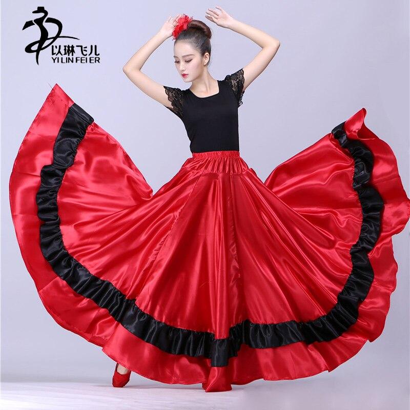 360 540 720 Full Circle Satin Long Skirt Swing Belly Dance Costumes Tribal Ballroom Dance Dresses/Famenco Dress