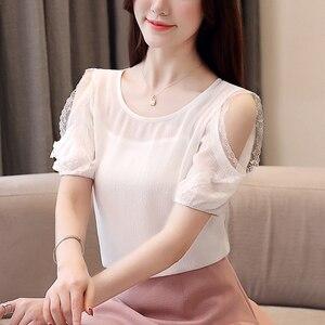 Image 2 - Blusa de chifón de manga corta para verano, Camisa de gasa para mujer, 2019