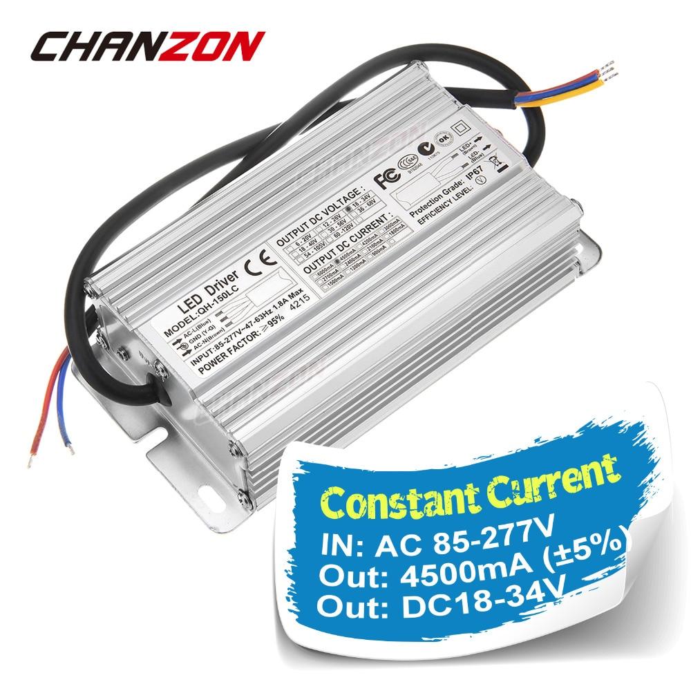 Constant Current LED Driver 4500mA 6 10x15 DC18 34V 4 5A 120W 150W IP67 AC100 240V