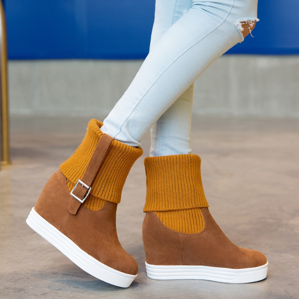 New Stylish Women Mid Calf Boots Fashion Round Toe Height -5094