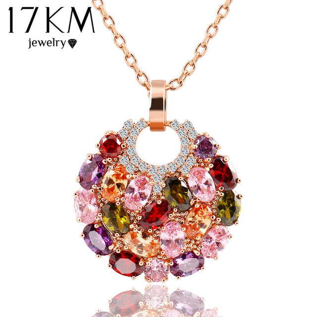 17KM Trendy Alloy Link Chain Colorful Round Crystal Pendant Necklace Fashion Design Flower Jewelry Zircon Necklaces For Women