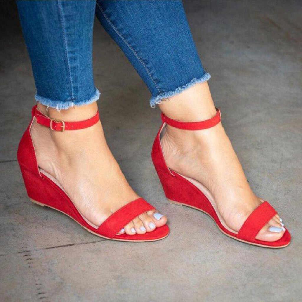 ONTO-MATO vrouwen Wig Hoge Hak Sandalen Zomer 2019 Nieuwe Gesp Vis Mond vrouwen Platte Sandalen Big Size 35 -43 bohemian sandalen