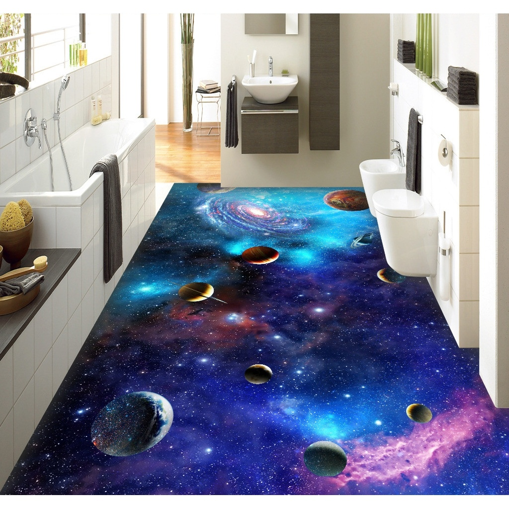 3d pvc flooring custom wall sticker star galaxy 3d for Bathroom floor mural