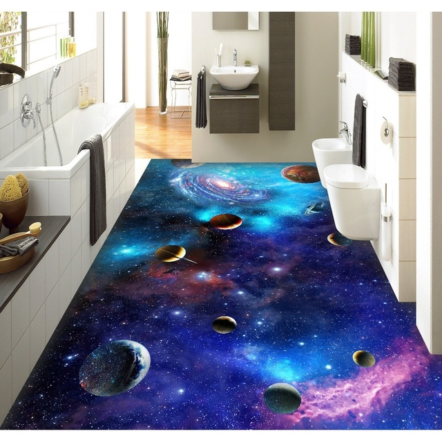 3D pvc revêtement de sol personnalisé mur autocollant Star Galaxy 3D  univers 3D salle de bain revêtement de sol peinture photo papier peint pour  murs ...