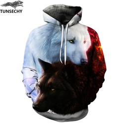 TUNSECHY Wolf Printed Hoodies Men 3D Hoodies Brand Sweatshirts Fashion Tracksuits Wholesale and retail Free transportation 1