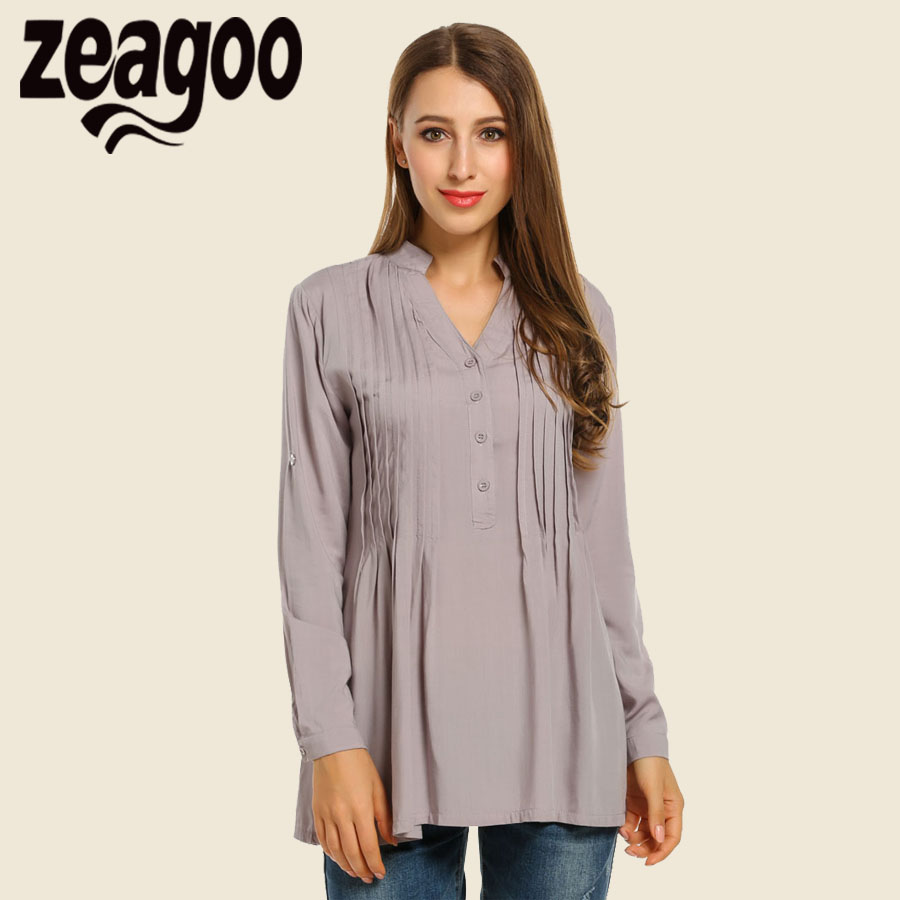 Zeagoo Women Casual Shirt 2018 Solid Pleated Tunic Tops Loose V-Neck Basic Long Sleeve Office Ladies Blouse Plus Size