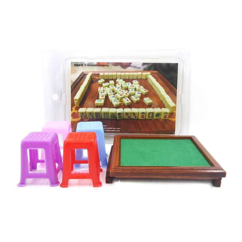 1:12 Miniature Dollhouse Chinese Mahjong Table Stools Set Living Room Furniture Game Toys Doll House Accessories Decor
