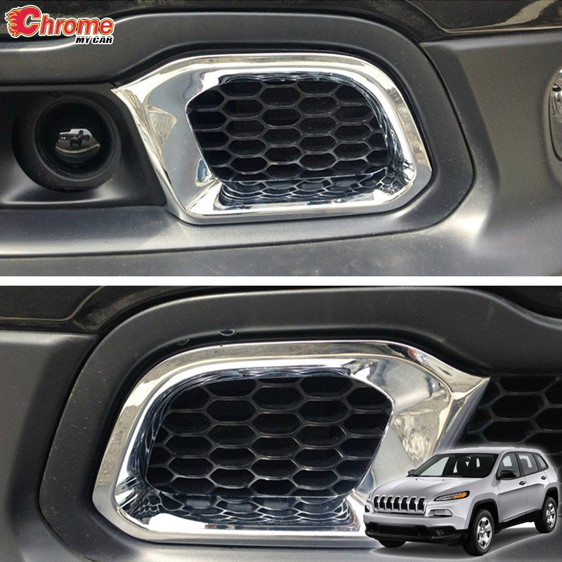 For Jeep Cherokee KL Front Bumper Lower Grill Grille Mesh Air Vent Chrome Cover Trim 2014 2015 2016 2017 2018 Car Styling Kit
