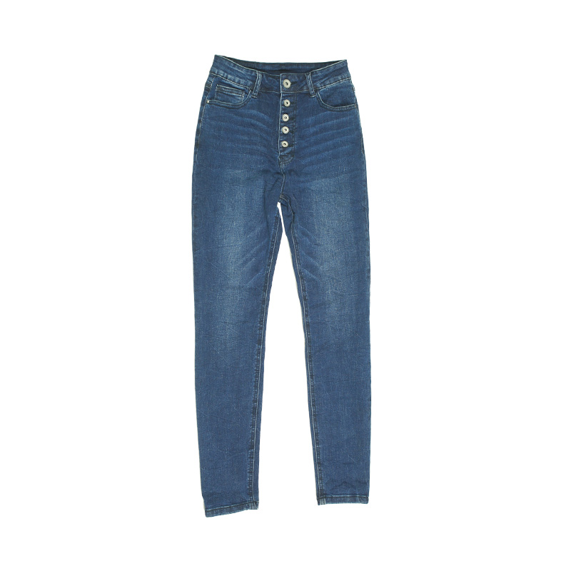 My Will Jeans Blue High-Waist Tight-Fitting Button High-Elastic  3d-7126 Made In China