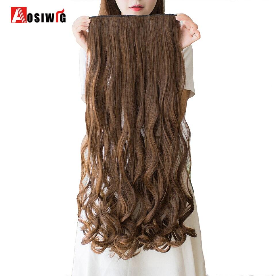 AOSIWIG 24 pulgadas de largo ondulado Clip en extensiones de cabello - Cabello sintético