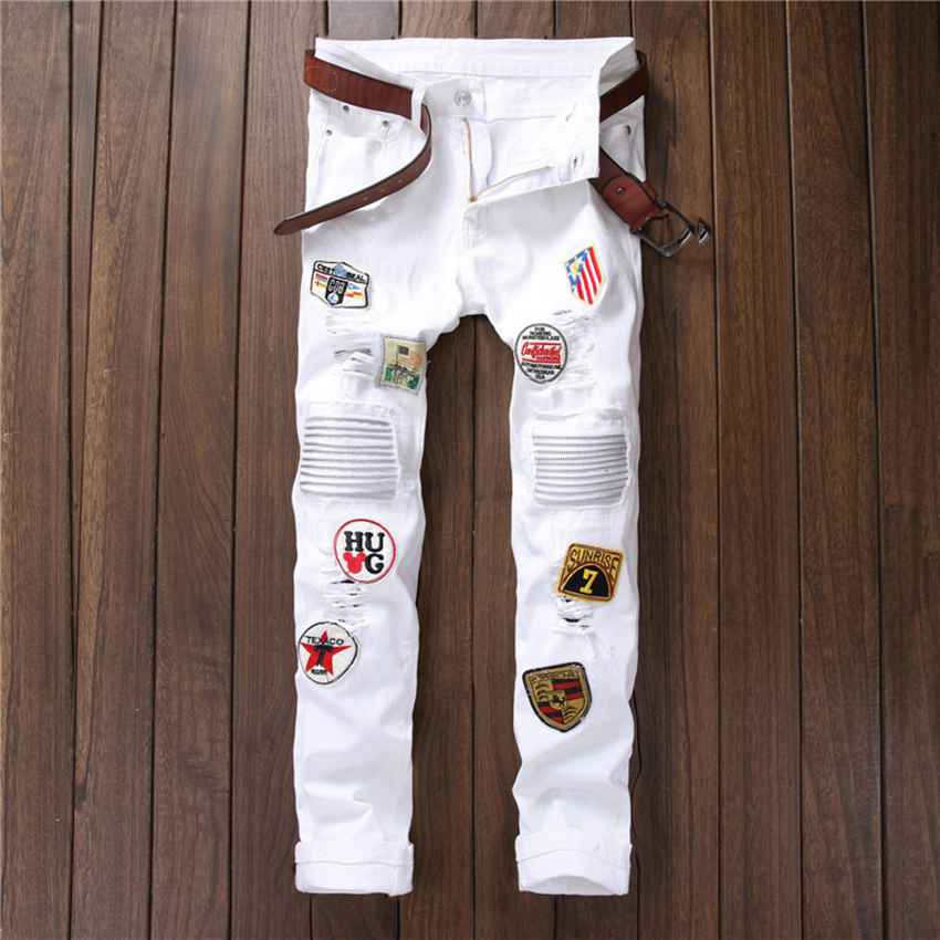 #1523 Famous brand jeans Ankle zipper jeans Skinny White Ripped jeans for men Badge Motorcycle Designer jeans men high quality