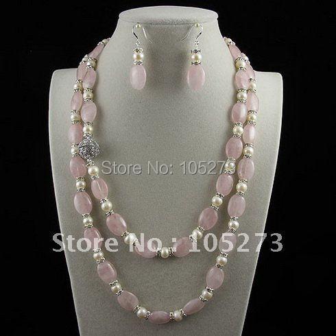 Longue perle et rose quartzs collier 48 inchs 6-7mm blanc Véritable perle d'eau douce et rose Strass Perles nouveau livraison gratuite