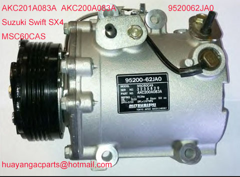 MSC60CAS  air auto ac  compressor for  compressor Suzuki Swift III / SX4 2005- AKC200A083A 9520062JA0 AKC201A083AMSC60CAS  air auto ac  compressor for  compressor Suzuki Swift III / SX4 2005- AKC200A083A 9520062JA0 AKC201A083A