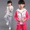 2017 Niños niñas impresión de la manera delgada traje niños melocotón con capucha streetwear ropa set