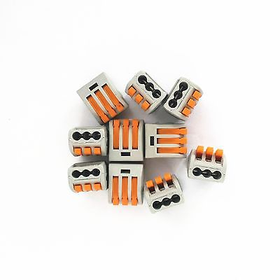 10PCS Wire Spring Quick Connect 3 Pin Push Clamp Connector 32A Cable Terminal Block XWJ 1000pcs dupont jumper wire cable housing female pin contor terminal 2 54mm new