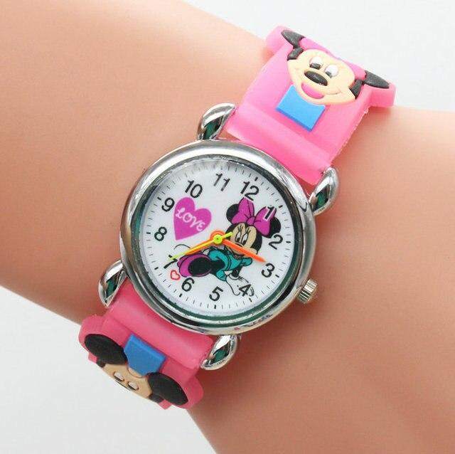 Free Shipping 3D Cartoon Lovely Kids Girls Boys Children Students Mickey Quartz Wrist Watch Very Popular