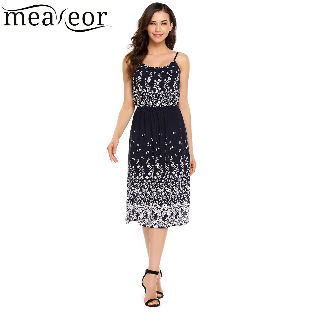 Meaneor Floral Print Spaghetti Straps Sundress Women Sleeveless Calf Length Sheath Dresses Empire Casual Summer Dress Vestidos