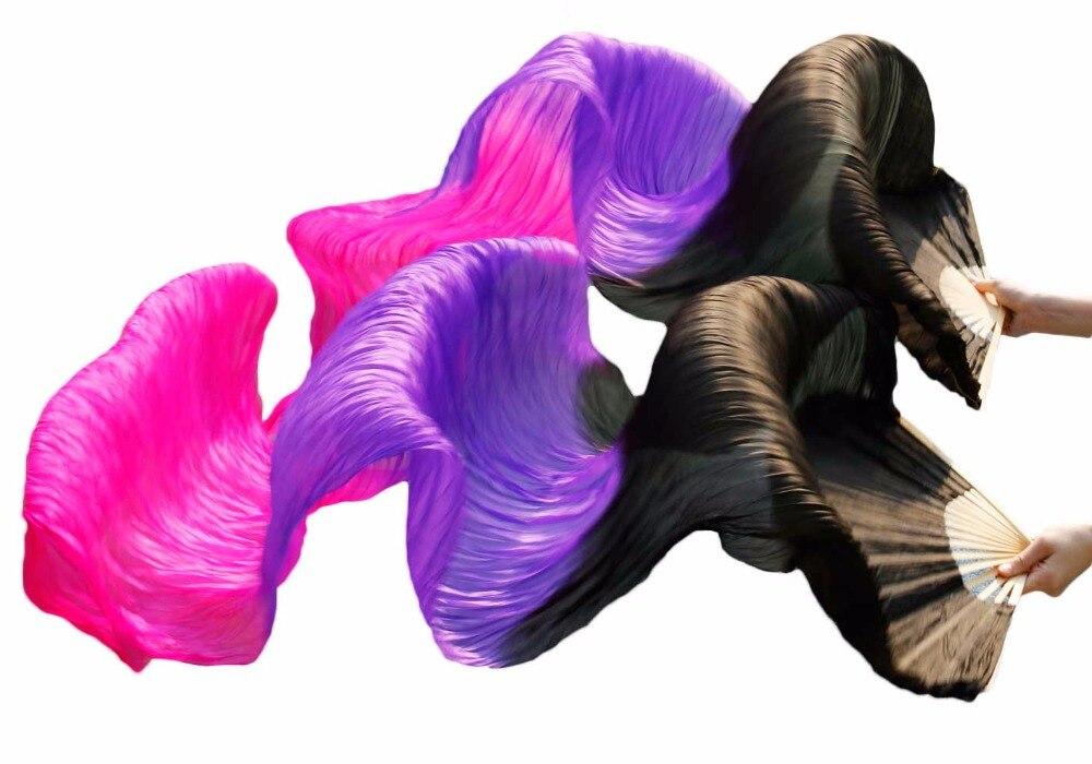 100% Silk Dance Stage Performance Props Dance Silk Fans 180x90cm Women 1Pair Left+Right Belly Dance Long Fans Black+Purple+Rose