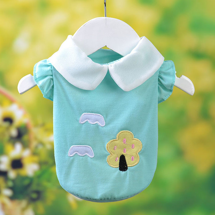 Fresh Cute Dog Coat Shirt For Small Dogs Puppy Pet Cotton T-shirt Vest Teddy Chihuahua Clothes in Spring and Summer Blue Yellow Pink Purple6