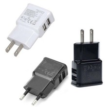 Lote 5 pcs Banggood EUA/UE Plug 5 V 2.1A 1A 2 Port USB Carregador Universal Compact Dual USB Saída de Energia AC de Parede adaptador