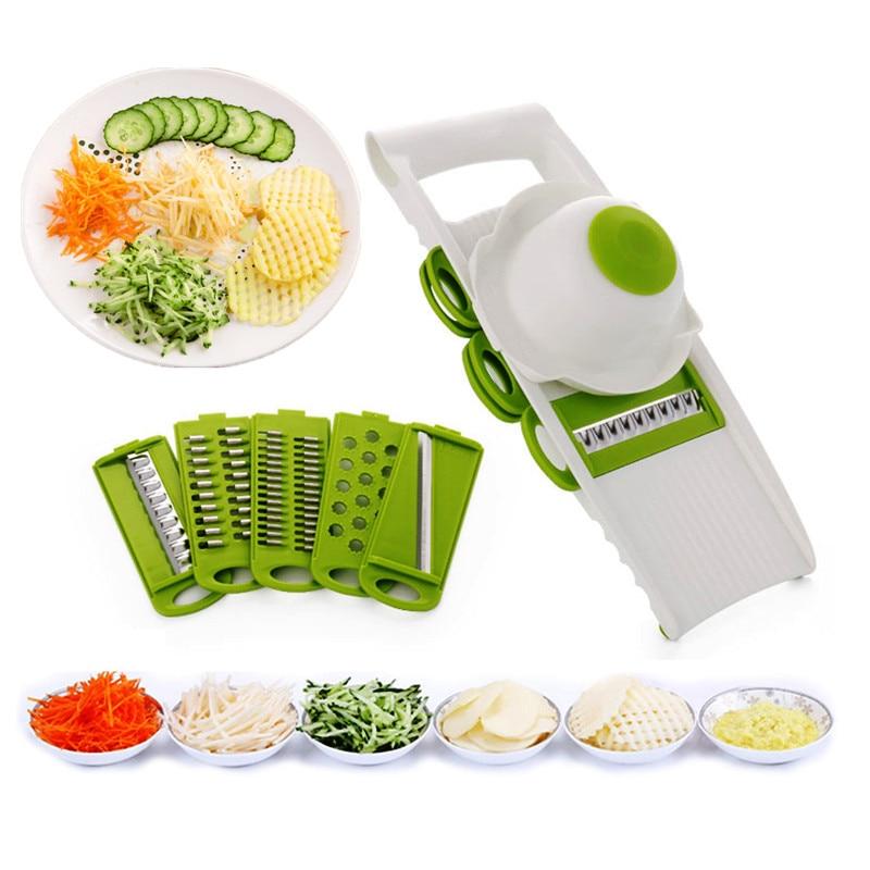 Professional Mandoline Slicer Dicer Manual Fruit Vegetable Cutter Potato Carrot Slicer Cheese Grater Kitchen Tool 5pcs