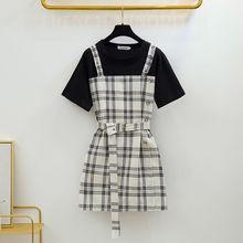 ICHOIX Casual striped 2 pieces sets dress summer student girl A-Line Korean sweet short women with belt+Black tshirt