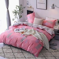 Simple Style Pink Polyester Bedding Set For Girls Plant Pattern Duvet Cover Sets Twin Queen Size Bed Linens for All Seasons