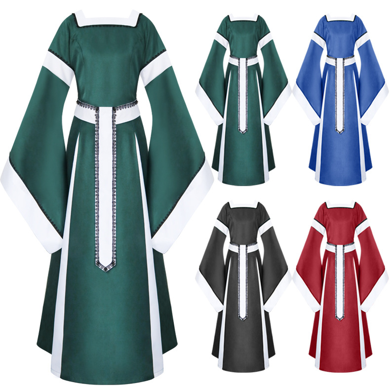 European Middle Ages Cosplay Costume Medieval Women Square Neck Flare Sleeve Long Classical Dress Renaissance Dresses