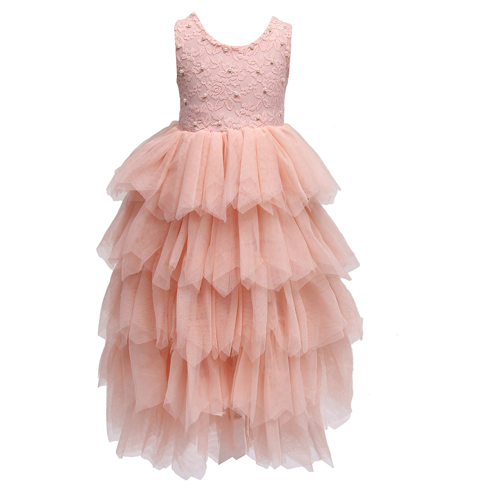 Princess Kids Girls Tutu Lace Dress Beading Ruffles Princess Pink Color Holiday Party Dresses Top Quality Birthday Dress