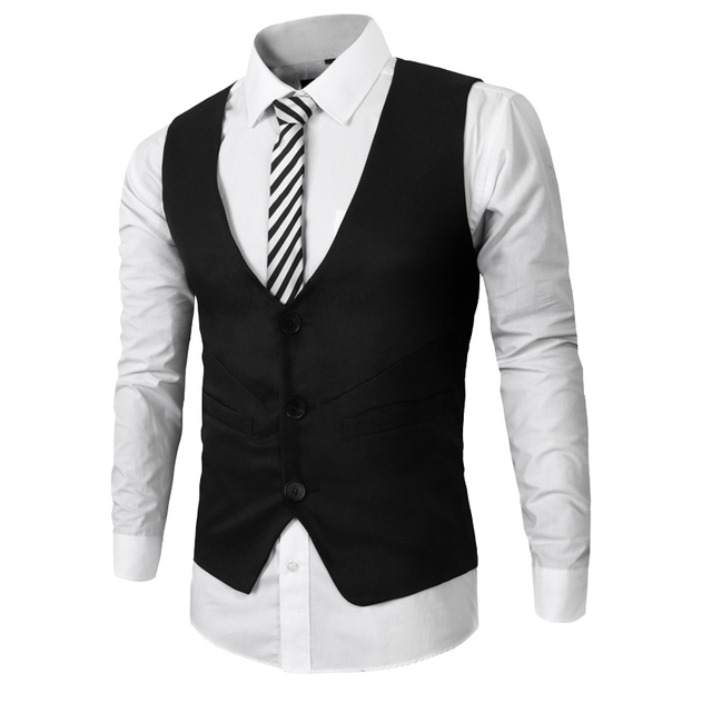Mens Slim Fit Business Suit Vest 2016 New Arrivals Sleeveless Jacket Homme Dress Waistcoat Blazer Tops Free Shipping 15M03