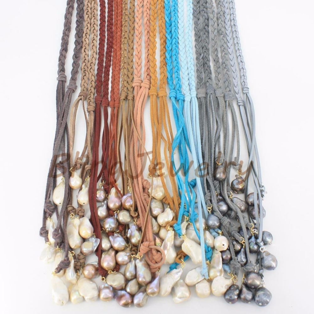 Braided Faux Suede Lariat Necklace Freshwater Baroque Pearls Necklace  Leather Wrap Necklace N17061501(china (