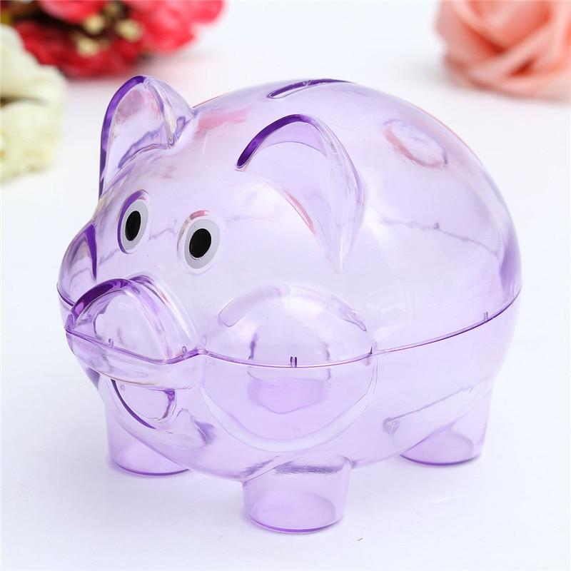 Interesting cute plastic pig clear piggy piggy bank for Transparent piggy bank money box
