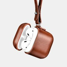icarer for Apple AirPods Vintage Real Leather Protective Case Bag for iPhone Earphone Accessories Cover w/ Wrist Strap Lanyard