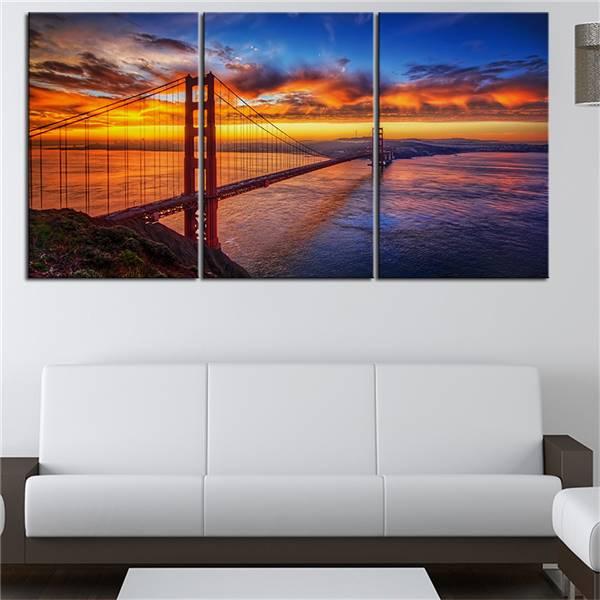 Pas de cadre 3 pièces Golden Gate Bridge Sunrise photographie imprimé peinture à l'huile sur toile peinture murale pour décor à la maison mur photo