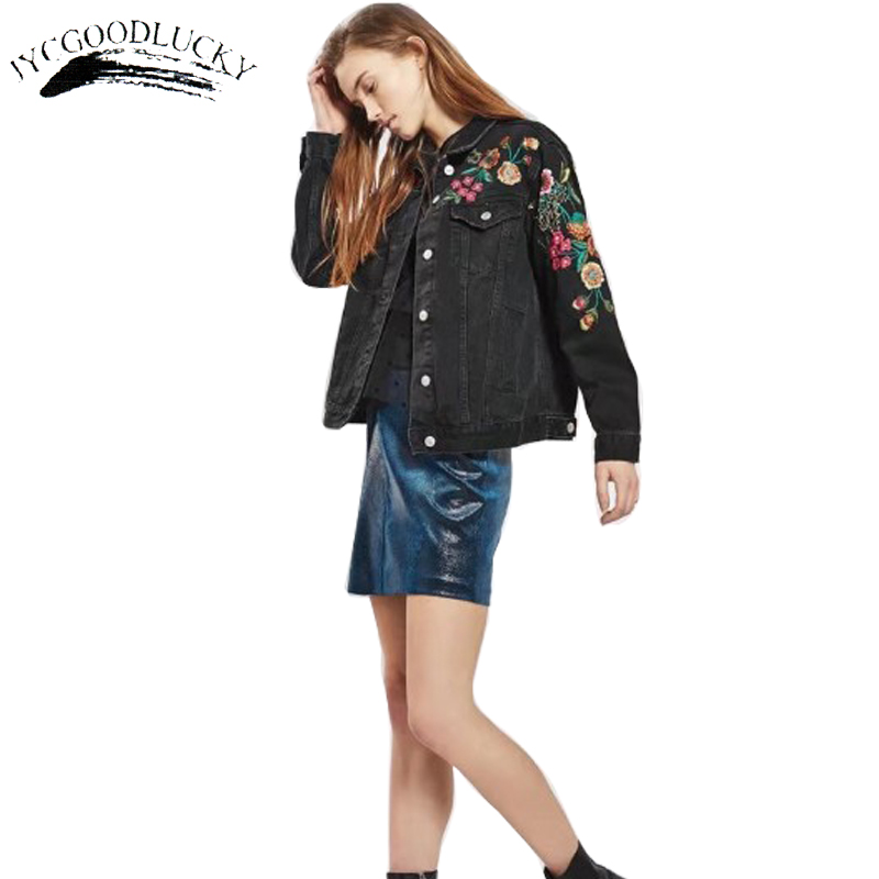 Embroidery jackets women autumn jeans jacket coat