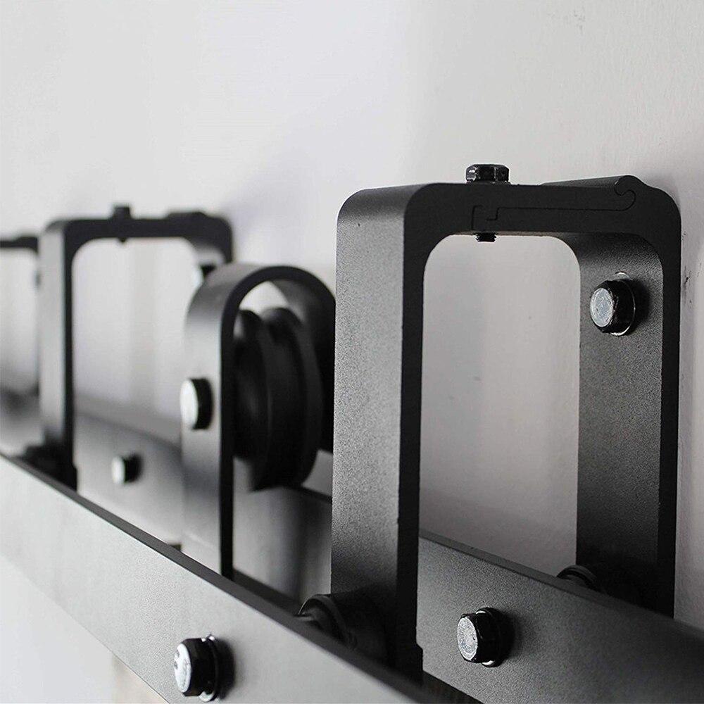 LWZH Sliding Wood Door Bypass Sliding Barn Door Hardware Kit Double Horseshoe -Shaped Track Rollers for Interior Double Door