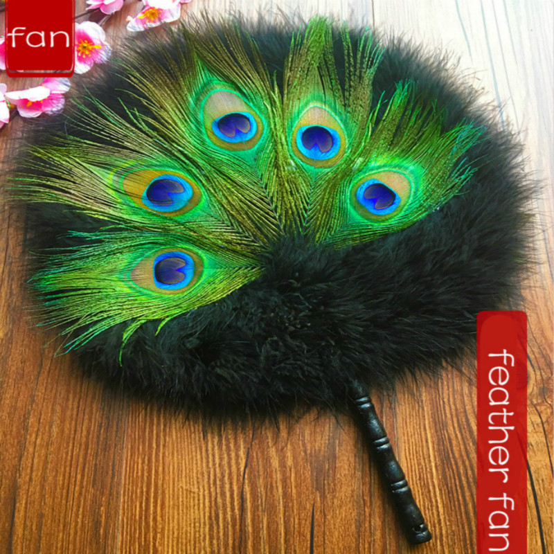 Chinese Style Peacock Feather Turkey Fluff Fan Classical Style Palace Decorative Fan Wedding Party Props